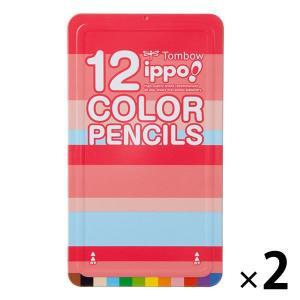 アウトレット トンボ鉛筆 ippo  スライド缶入色鉛筆 12色 1セット(2個:1個×2) CL-...
