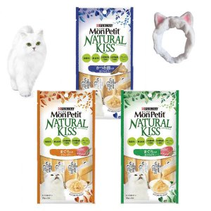 おまけ付モンプチ 猫用 ナチュラルキッス まぐろ・かつお 3種類3袋 + ヘアバンド|y-lohaco
