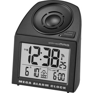 アウトレットノア精密 大音量電波置時計 アラームクロック:メガサウンド 1個 T-691 BK-Z