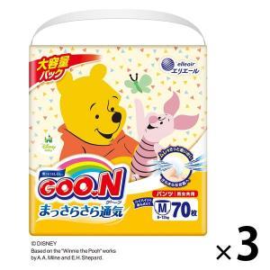 グーン おむつ パンツ M 男女共用 まっさらさら通気 1セット(74枚入×3パック) 大王製紙