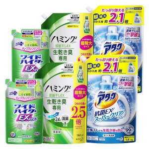 セール さらに20%OFFクーポンが使える 詰替セット アタック抗菌EXスーパークリアジェル+ワイドハイターEXパワー+ハミングファイン部屋干しEX