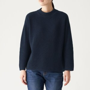 SALE  無印良品 畦編みモックネックセーター 婦人 M ネイビー 良品計画