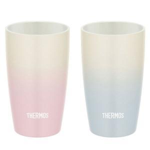 サーモス(THERMOS) 真空断熱タンブラーセット ピンクグラデーション ブルー 陶器風ペアタンブ...