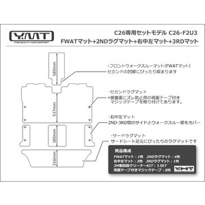 YMT C26セレナ フロントウォークスルーマット+2NDラグマット+3RDラグマット 送料無料|y-mt|04