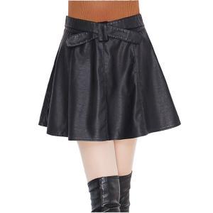 スカート レディース おしゃれ レザースカート ウエストのリボン風の合わせが素 おしゃれ フリル Mサイズ・ブラック btab098|y-mty