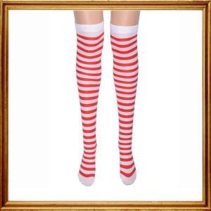 ニーハイソックス レディース おしゃれ ボーダー クリスマス ハロウィン コスプレ 衣装 サンタ ウォーリー fiab165|y-mty