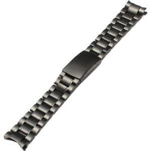 腕時計 交換バンド ベルト ステンレス プッシュ式 弓カン 3連 ブラック 18mm 20mm 22mm|y-mty