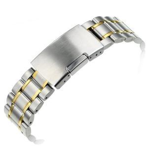 腕時計 交換バンド ベルト ステンレス プッシュ式 弓カン ゴールドアクセント18mm 20mm 22mm|y-mty