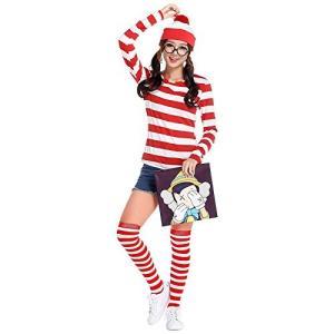 ウォーリーを探せ メンズ レディース コスチューム 4点セット 帽子 Tシャツ レンズなしメガネ 付き コスプレ 衣装 fjab059|y-mty