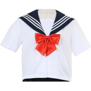 コスプレ セーラー服 レディース 半袖 上着のみ 女子高生 ハロウィン 飲み会 コスプレ 制服 男女兼用 半袖白色 赤リボン fjab076|y-mty