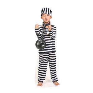 囚人服 コスチューム 長袖 衣装 上下 帽子 セット 子供用 コスプレ 宴会 パーティー ハロウィン  105-120cm  kcab244|y-mty