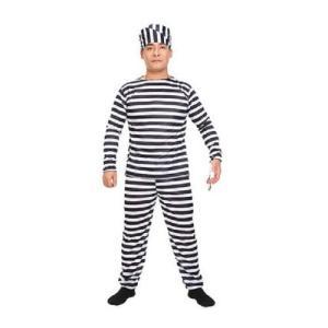 囚人服 コスチューム 長袖 衣装 上下 帽子 セット 大人用 コスプレ 宴会 パーティー ハロウィン  kcab246|y-mty