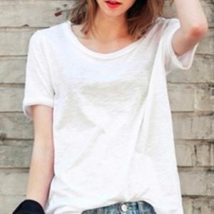 カットソー レディース おしゃれ 半袖 トップス Tシャツ Uネック 無地 白色 ホワイト Sサイズ  竹の綿 ストレッチ mmab006|y-mty