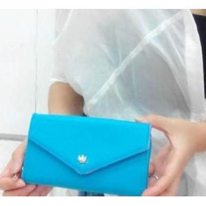 財布 レディース おしゃれ イヤフォンが閉じたまま使える スマートフォン対応 コインケース ブルー ofab133|y-mty