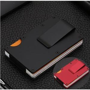 マネークリップ カードケース カードホルダー  小物 金属 メンズ おしゃれ カード スチール 合金 シンプル 黒 赤|y-mty
