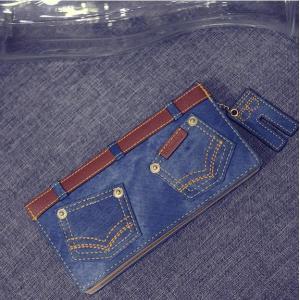 長財布 メンズ レディース おしゃれ デニム ブルー ストラップ付き カード入れ12個 札入れ2個 小銭入れ1個 ジーンズ zbga122|y-mty