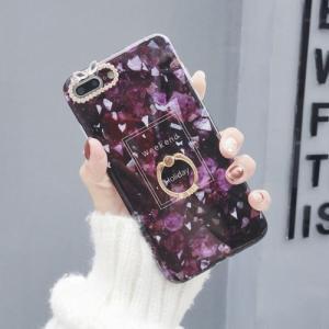 スマホケース おしゃれ iPhone7 iPhone8 ケース アイフォン7 アイフォン8 紫 大理石デザイン ダークパープル リング付き zbga196|y-mty