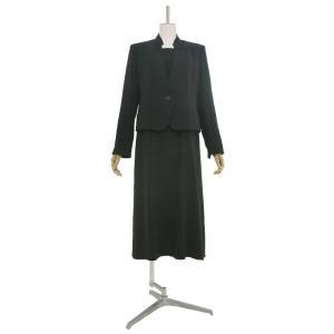 礼服レンタル0AZY106ブラックフォーマルスーツ(喪服)(レディーススーツ)