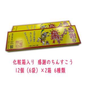化粧箱入り 感謝のちんすこう 12個(6袋)×2箱 6種類(ピーナッツ、黒糖、バニラ、塩、ココナッツ、よもぎ) メール便送料無料・代引不可|y-sansei-shop