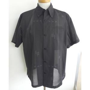 受注生産品・数量限定 かりゆしウェア メンズ ボタンダウン(黒 フォーマル かすり) lfeelcoco ラフィール.ココ|y-sansei-shop