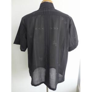 受注生産品・数量限定 かりゆしウェア メンズ ボタンダウン(黒 フォーマル かすり) lfeelcoco ラフィール.ココ|y-sansei-shop|02