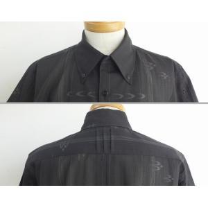 受注生産品・数量限定 かりゆしウェア メンズ ボタンダウン(黒 フォーマル かすり) lfeelcoco ラフィール.ココ|y-sansei-shop|03