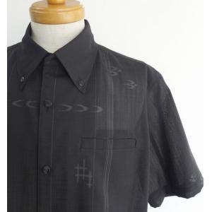 受注生産品・数量限定 かりゆしウェア メンズ ボタンダウン(黒 フォーマル かすり) lfeelcoco ラフィール.ココ|y-sansei-shop|04