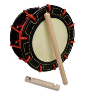 エイサー締め太鼓(25cm)持ち手棒、バチ付き|y-sansei-shop