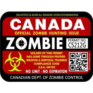 """Two 3/""""x 4/"""" Rhode Island Zombie Hunting License Decals Stickers ProSticker 1249"""