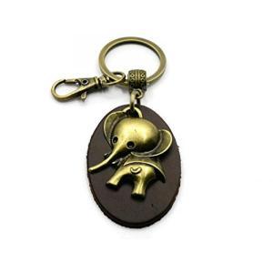 ■商品詳細 Cute Elephant Fob Leather Womens Keychain wi...