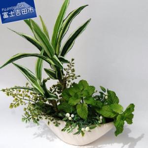 【富士吉田市 ふるさと納税】フラワーアレンジメント(寄せ植えグリーン)