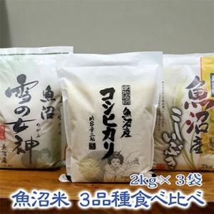魚沼市 ふるさと納税 【令和元年産】《魚沼産米》こだわりの3品種食べ比べセット 6kg(2kg×3品種)