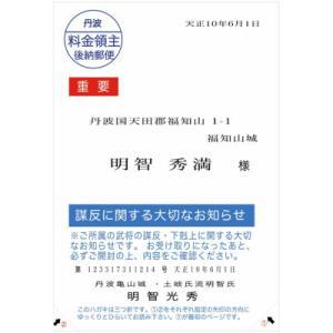 福知山市 ふるさと納税 明智光秀からの「謀反のお知らせハガキ」&福知山城ペア招待券|y-sf