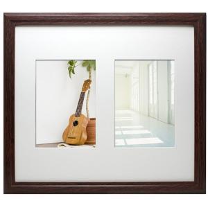 万丈 木製VMブラウンフレーム大 2L判 2窓 BR|y-sharaku