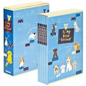 5冊ソフトボックス ポケットアルバム L3段270枚収納 イラスト柄 キャット&ドッグ ブルー 5PL-270-30-B ナカバヤシ|y-sharaku