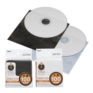 DVD/CD 片面不織布ケーススリム 100枚 ブラック/ホワイト DVD-005-100 ナカバヤシ 受発注商品|y-sharaku