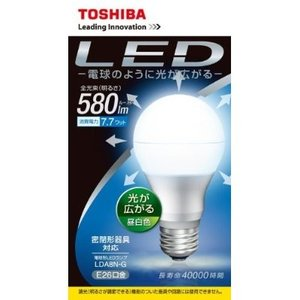 東芝 LED電球 一般電球形 全方向タイプ 一般電球60W相当 電球色(2700K) E26口金 LDA8L-G/60W|y-sharaku