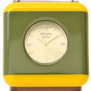64ee1c0bd74e 本物 PRADA プラダ スクエア 腕時計 QZ クォーツ 電池式 プラスチック カーキ イエロー ブラウン シルバー文字盤 ボーイズ レア 希少 中古