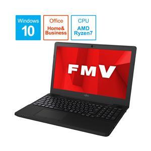 富士通 LIFEBOOK AH76/D1 15.6型ノートパソコン Ryzen 7 メモリ8GB SSD256GB Office付き Windows10 シャイニーブラック FMVA76D1BB y-sofmap