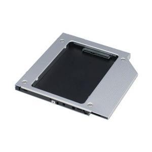 2.5インチSATA SSD/HDDを9.5mm厚のSATA薄型光学ドライブベイに固定できます。