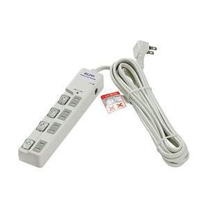 ELPA WLS-LU4500RMB LEDランプスイッチ付タップ ブレーカー付 上挿し 4個口 3...