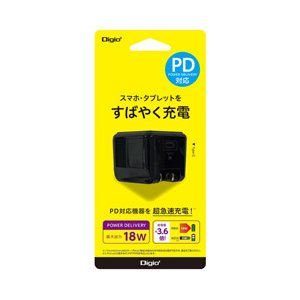 ナカバヤシ USB TypeC 1ポート充電器 18W PD充電対応 ブラック JYUACU04BK|y-sofmap