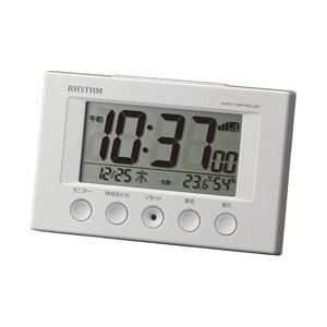 リズム時計 電波目覚まし時計 「フィットウェーブスマート」 8RZ166SR03 (白)