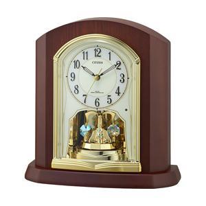 リズム時計 木枠 電波置時計 4RY702-N06 茶色半艶仕上(アイボリー)|y-sofmap