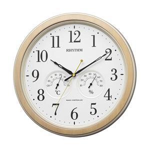 リズム時計 アナログ温湿度計付き 電波掛時計 「フィットウェーブインフォートM553」 8MY553SR23 茶色木目仕上(白)|y-sofmap