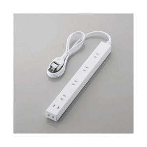 エレコム ほこり防止シャッター付きスリム電源タップ(幅広・2ピン式・6個口・ホワイト・1.0m) T...