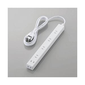 エレコム ほこり防止シャッター付きスリム電源タップ(幅広・2ピン式・6個口・ホワイト・2.0m) T...