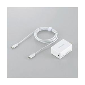 エレコム MacBook/タブレット/スマホ対応[USB-C] AC - USB-C充電器 USB PD対応 3A +USB-C⇔USB-Cケーブル 2m (1ポート・ホワイト) ACDC-CPS200WH|y-sofmap