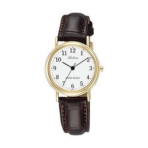 シチズン ファルコン 腕時計 日本製ムーブメント 革ベルト ホワイト/ブラウン Q997-104 レディース 婦人
