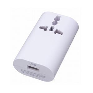 ヤザワ HPM4WH 海外用マルチ変換プラグ(USB1ポート/ホワイト)